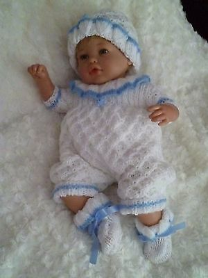 """Cute Hand Knitted Romper Set - To Fit Approx. 18-20"""" Reborn"""