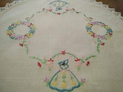 Vintage Crinoline Lady - hand embroidered large Doily