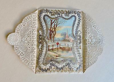 Antique Victorian Gilded Paper Lace Christmas Card