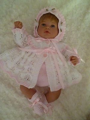 """Very Pretty Hand Knitted Matinee Set - To Fit Approx. 18-20"""" Reborn"""