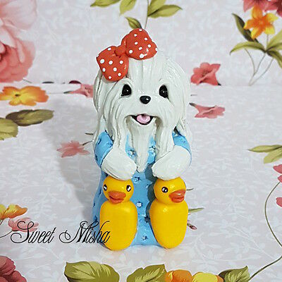 MALTESE dog sculpture clay handmade pajamas figurine ooak original SWEET MISHA
