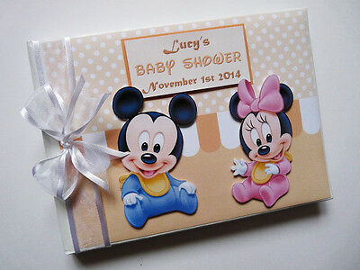 Personalised Disney Baby Minnie & Mickey Baby Shower Guest Book - Any Design