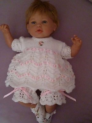 """Adorable 3 Piece Hand Knitted Outfit - To Fit Approx. 17-19"""" Reborn"""
