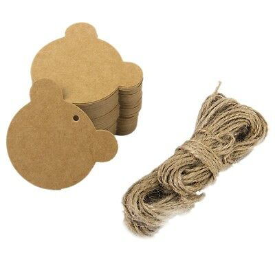 Bear gift stickers gift pendants gift tags stickers kraft paper blank card X3W9