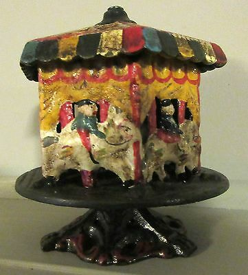 Old  Cast Iron Open Carousel Still Bank in VG Condition
