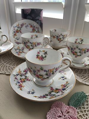 Vintage Minton Spring Flowers Set x 5 Coffee Demitasse Cups&Saucers England EUC