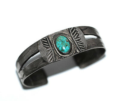 Antique Navajo Handforged Silver Turquoise Cuff Bracelet, Old Pawn Early 20s-30s