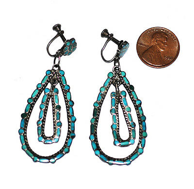 Antique 30s Zuni Sterling Dishta ? Inlay Turquoise Pendant Earrings Old Early