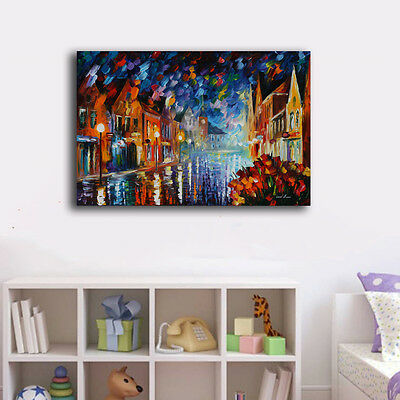 60×90×3cm Watercolor Night Street Canvas Prints Framed Wall Art Home Decor IV