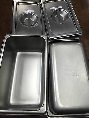 "LOT OF 4 STEAM TABLE PAN 4"" DEEP And Lids"