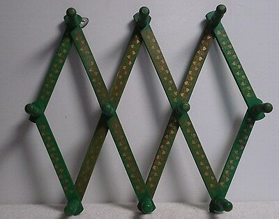 Vintage Folding Expanding Accordian Wood Wall Coat Hat Rack 10 Pegs green/gold