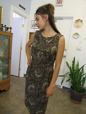 Vintage Brown Beaded Fancy Rayon Dress Size S-M or 8-10