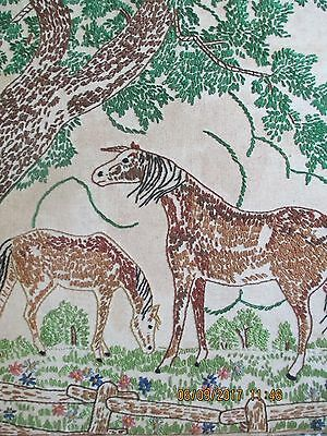 "Vtg Finished Embroidered Horse Picture~15.5"" X 13""~Horses In Pasture Under Tree"