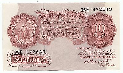 Ten Shilling Note 10/- K O Peppiatt  - 36E 672643 (1948) Last Series