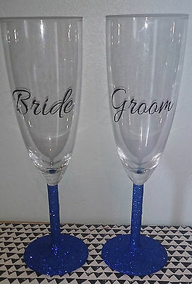 Bride and Groom glitter Champagne glasses, personalised