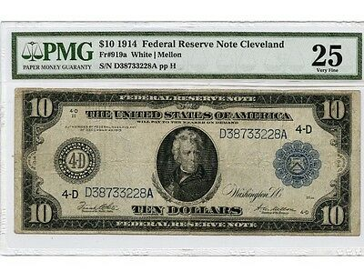 1914 PMG 25VF US $10 Large Size Federal Reserve FR#919a Currency Note