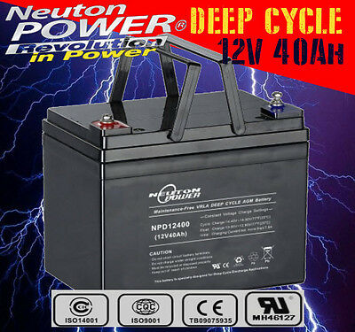 Neuton Power NPD12400 12V 40Ah AGM Heavy Duty Deep Cycle Battery > 30 33 35 38Ah