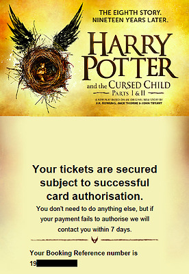 2 Tickets For Harry Potter And The Cursed Child Part 1 & 2 - 6/7. July 2017