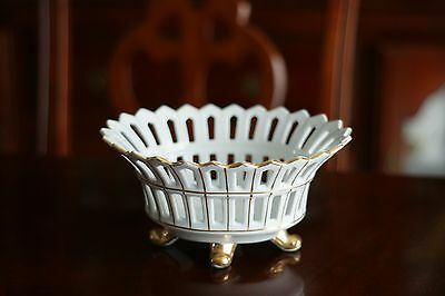 Andrea by Sadek  Ceramic Basket with Gold Plated Made in Japan