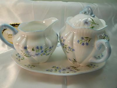 Shelley Blue Rock Large  Creamer,  Sugar Bowl With Lid  And  Under Plate 13591