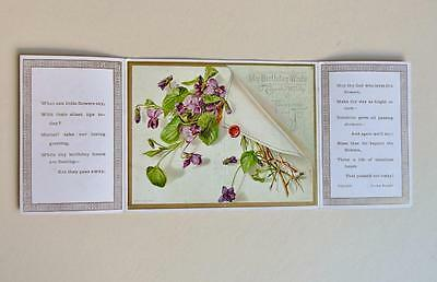 Antique Unused Raphael Tuck Folding Birthday Card With Violets