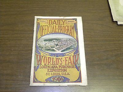 1904 St. Louis World's Fair Daily Official Program for Thursday
