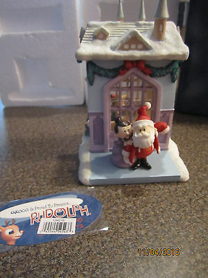 Enesco 2002 Rudolph and the island of misfit toys Santa's House Waterball 104216