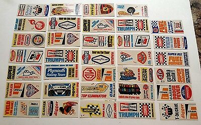 Vtg 1970 Trading Cards Auto Racing Stickers Decals for bicycles,notebooks ~ Mint