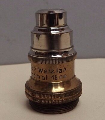 Microscope [ Objective ] H. Oehler { Brass } 16 mm [ German Silvered ] Fine