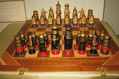 Russian Chess: Soviet Wooden Hand-Painted Chess Set in Oriental style. USSR