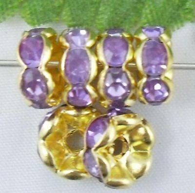 Free Ship 100Pcs Pretty Light Purple Gold Plated Crystal Spacer Beads 8mm