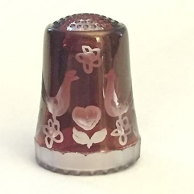 Red Glass Thimble Etched Floral Design With Birds