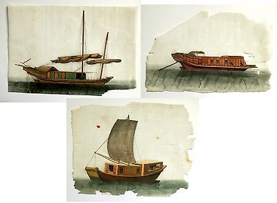 3 x Antique Chinese Paintings 19th Century/1880:Rice/Pith Paper:Boat/Junk/Sampan
