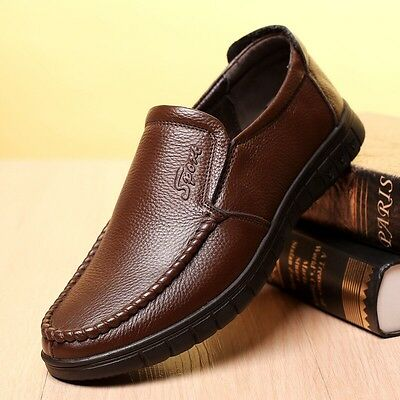 2017 Spring Men's Casual Leather Shoes Christmas Gift Slip on Brown Shoes