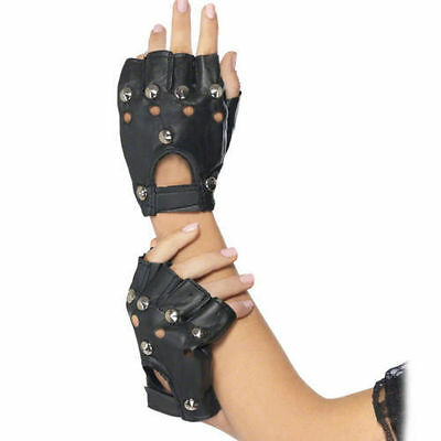 BLACK STUDDED PUNK GLOVES 1980's ROCK ADULT FANCY DRESS UP ACCESSORY BIKER 80s