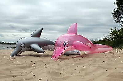 Pink transparent & silver inflatable dolphin bundle / Aufblasbare Delphine