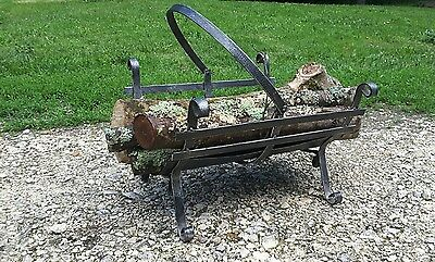 French vintage wrought iron log basket trug feet handle decorative finish black