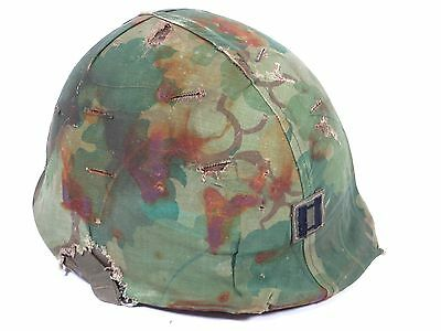 1969 Vietnam Officers Captains Combat Helmet US Green Camo M1