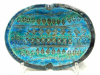 Beautiful 70´s Bitossi Rimimi blue pottery ashtray / Aschenschale  Italy 1 Chip