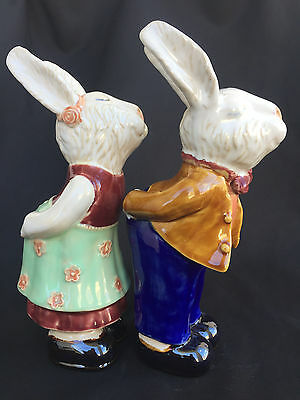 Vintage Pair of Ceramic Rabbit Figurines / Bunny Figures / Very Cute