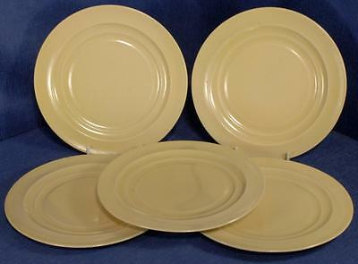 """5 x Yellow / Cream Ribbed Side Plates by Branksome Pottery England - 6.5"""""""