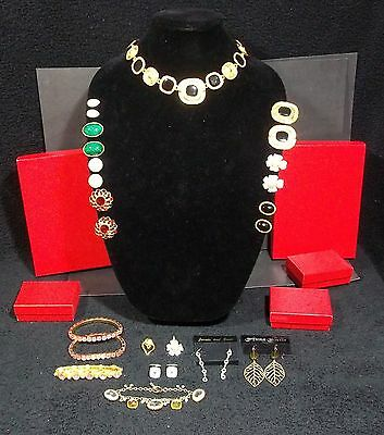 Vintage Costume Jewelry Lot Plus (5) Red Jewelry Boxes ** Lot 18