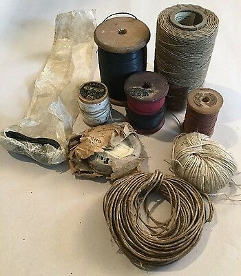 Antique Vtg Wax String Thread - Awl Leatherwork Sewing Knot Tying Cobbler Shoe