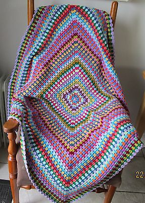 Beautiful multi-coloured OOAK hand crocheted patchwork granny square blanket