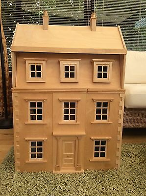 Wooden Dolls House Including Furniture And Family