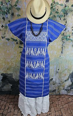 Blue & White Huipil - Cotzocon Hand Woven Mexico Hippie Boho Cowgirl Frida Style