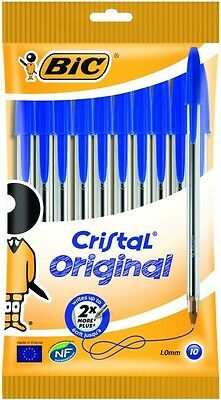 BIC Cristal Original 1.0 Mm Ball Pen - Blue, Pack Of 10