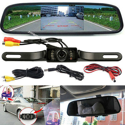 "4.3"" Car TFT LCD Monitor Rear View Mirror +License Plate IR Night Reverse Camera"