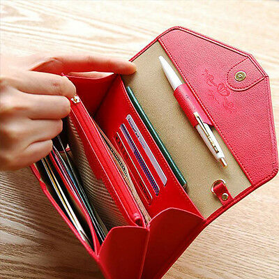 Women Leather Snap Wallet Card Holder Envelope Passport ID Coin Phone Purse