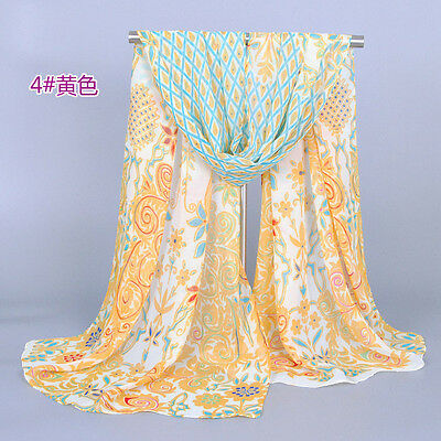 Yellow Fashion Women's Lady Long Soft Wrap Lady Shawl Peacock Silk Chiffon Scarf